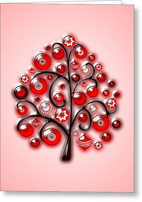 Red Glass Ornaments Greeting Card by Anastasiya Malakhova