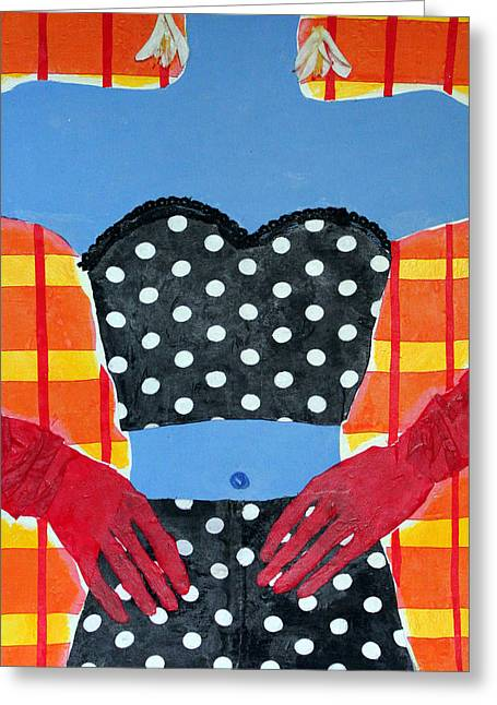Diane Fine Greeting Cards - Red Gloves Greeting Card by Diane Fine