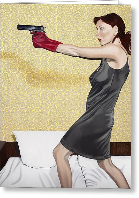 Hamburger Greeting Cards - Red Gloves Greeting Card by Marcella Lassen