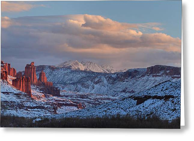 Southern Utah Greeting Cards - Red Glow In A Sea Of White - Panorama Greeting Card by Adam Jewell
