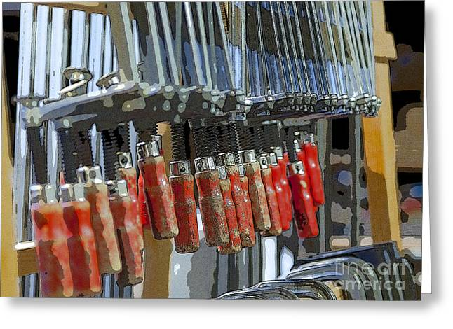 Manual Digital Art Greeting Cards - Red glue clamps Greeting Card by Patricia Hofmeester