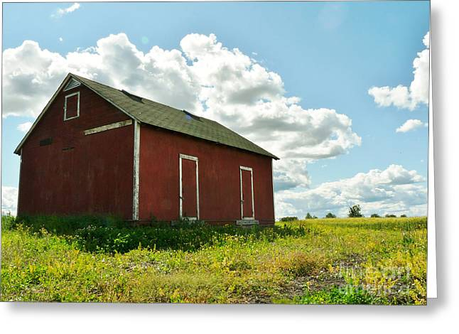 Red Barn Prints Greeting Cards - Alberta Red Grainery Greeting Card by Lisa Killins