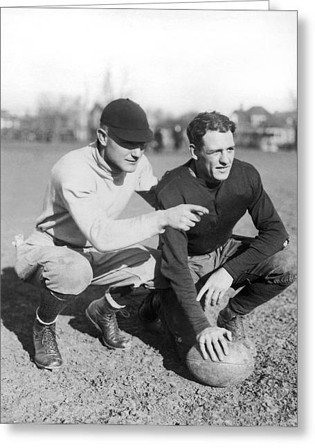 Red Grange And His Coach Greeting Card by Underwood Archives