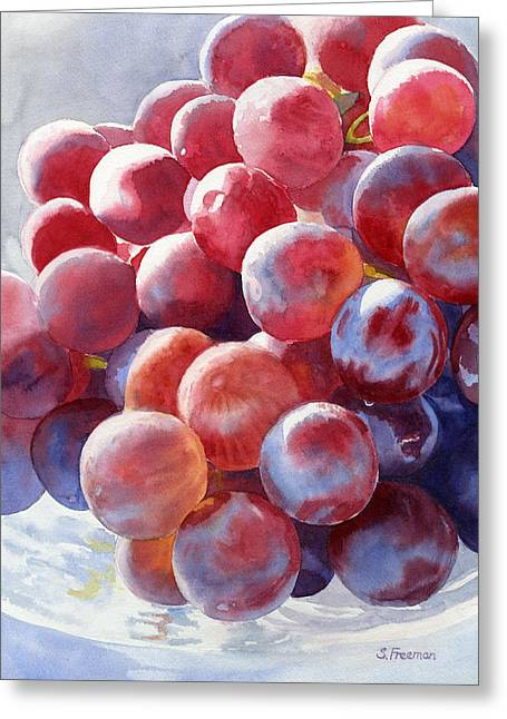 Blue Grapes Greeting Cards - Red Grape Essence Greeting Card by Sharon Freeman
