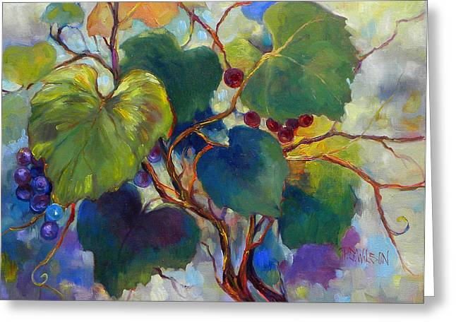 Grape Vines Paintings Greeting Cards - Red Grape Vines Greeting Card by Peggy Wilson