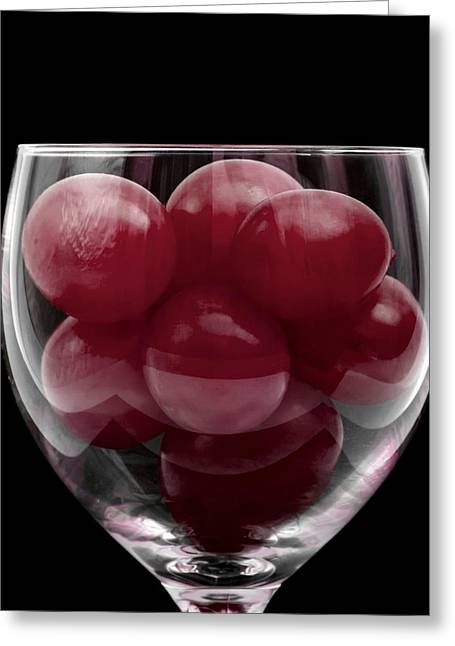 Grape Print Greeting Cards - Red Grapes in Glass Greeting Card by Wim Lanclus