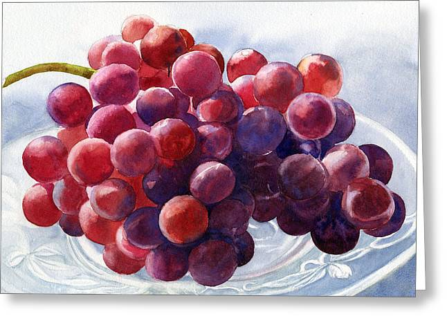 Watercolor! Art Greeting Cards - Red Grapes on a Plate Greeting Card by Sharon Freeman