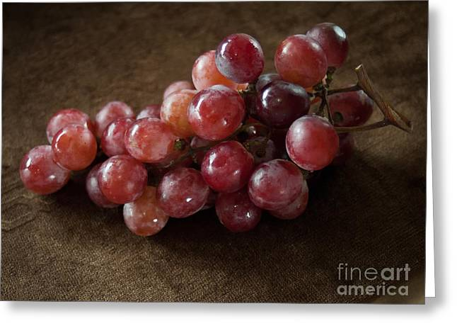 Table Cloth Greeting Cards - Red grapes on Brown cloth Greeting Card by Nuttakit Sukjaroensuk