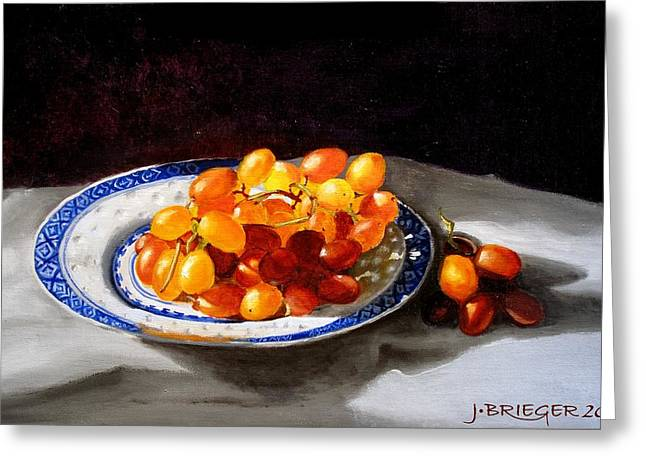 Posh Paintings Greeting Cards - Red Grapes on Chinese Dsh Greeting Card by Jan Brieger-Scranton