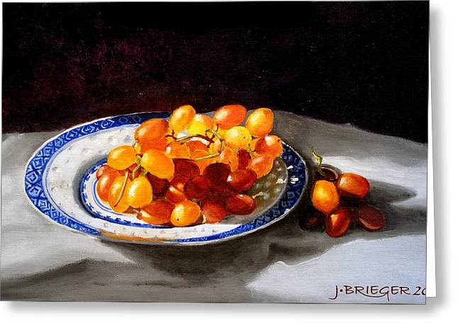Red Grapes On Chinese Dsh Greeting Card by Jan Brieger-Scranton