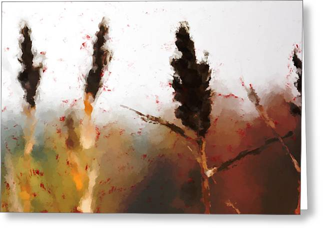 Dry Lake Greeting Cards - Red grass Greeting Card by Toppart Sweden