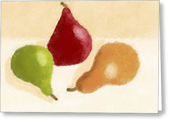 Pear Art Digital Art Greeting Cards - Red Green And Bosc Greeting Card by Heidi Smith