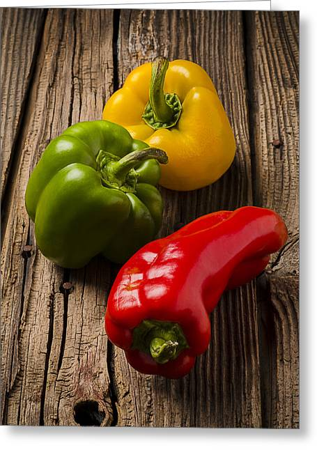 Red Green Yellow Peppers Greeting Card by Garry Gay