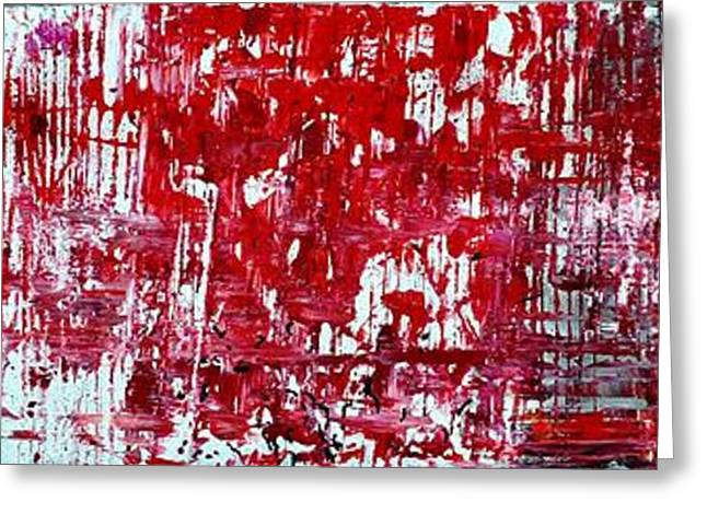 Splashy Paintings Greeting Cards - Red Grey White And Black Greeting Card by Martina Niederhauser