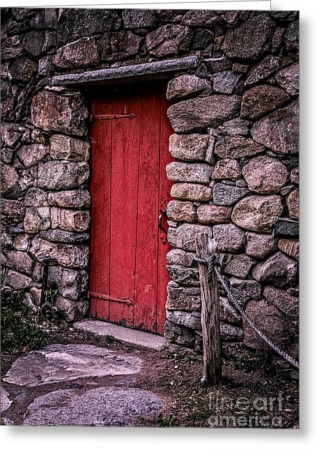 Entrance Door Greeting Cards - Red Grist Mill Door Greeting Card by Edward Fielding