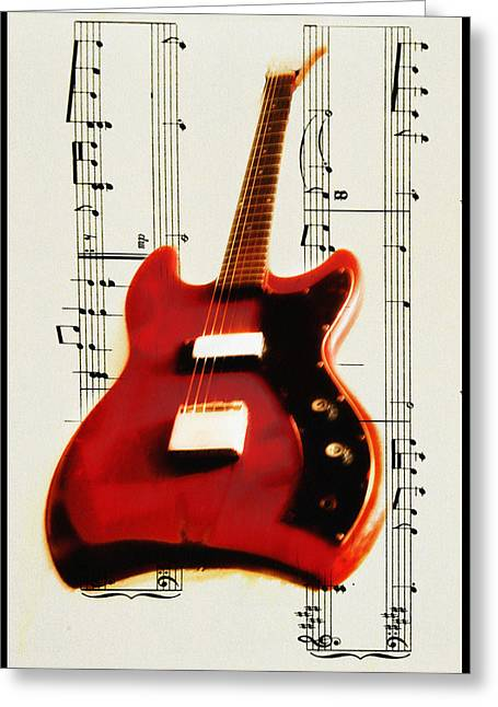Jet Star Greeting Cards - Red Guitar Greeting Card by Bill Cannon