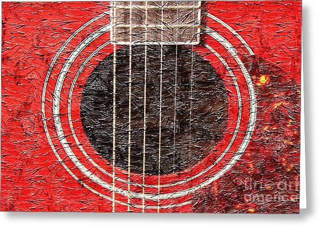 Best Sellers -  - Mahogany Red Greeting Cards - Red Guitar - Digital Painting - Music Greeting Card by Barbara Griffin