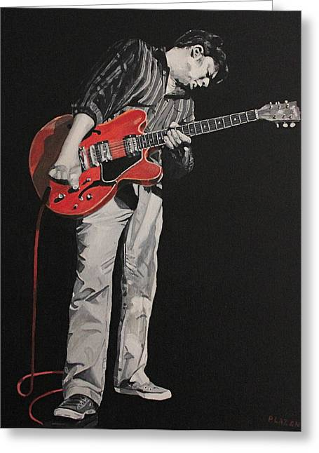 Red Guitar Greeting Card by Patricio Lazen