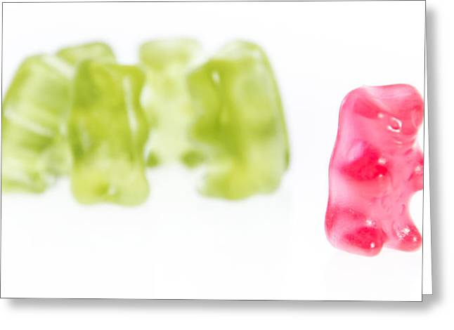 Gummi Candy Greeting Cards - Red Gummi Bear as pariah Greeting Card by Handmade Pictures