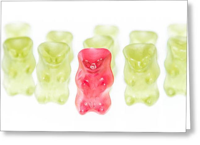 Gummi Candy Greeting Cards - Red Gummi Bear is leading the group Greeting Card by Handmade Pictures