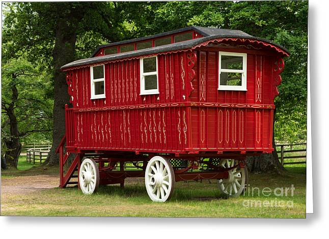 Owner Greeting Cards - Red Gypsy Wagon Greeting Card by Iris Richardson