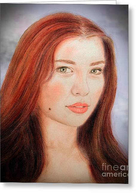 Beauty Mark Mixed Media Greeting Cards - Red Hair and Blue Eyed Beauty with a Beauty Mark II Greeting Card by Jim Fitzpatrick