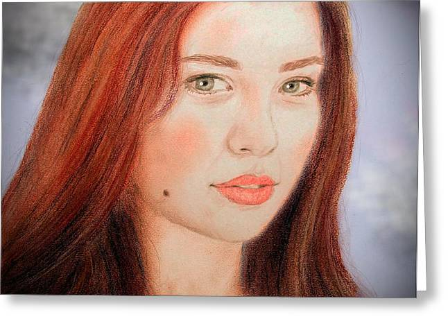 Red Hair and Blue Eyed Beauty with a Beauty Mark II Greeting Card by Jim Fitzpatrick