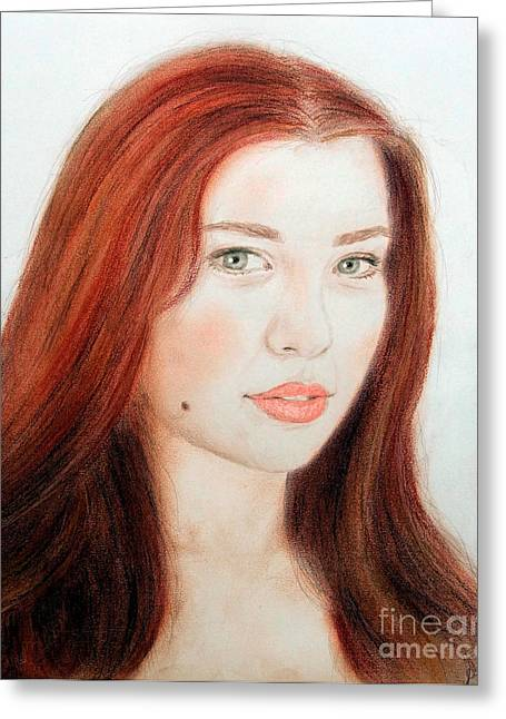 Beauty Mark Mixed Media Greeting Cards - Red Hair and Blue Eyed Beauty with a Beauty Mark Greeting Card by Jim Fitzpatrick
