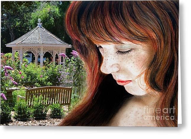 Park Benches Drawings Greeting Cards - Red Hair and Freckled Beauty II Altered Version Greeting Card by Jim Fitzpatrick
