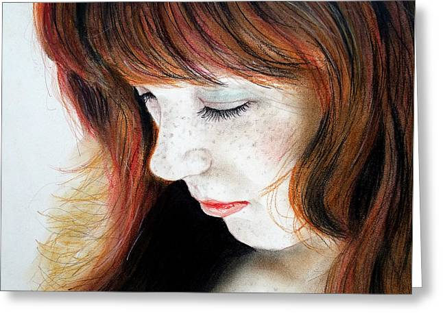 Chest Mixed Media Greeting Cards - Red Hair and Freckled Beauty II Greeting Card by Jim Fitzpatrick