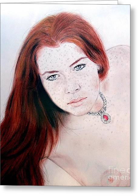 Jim Drawing Drawings Greeting Cards - Red Hair and Freckled Beauty Remake Nude Greeting Card by Jim Fitzpatrick