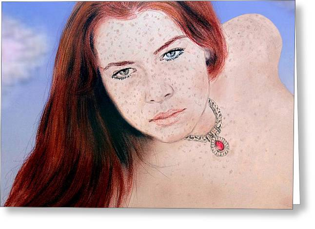 Woman Head Greeting Cards - Red Hair and Freckled Beauty Remake Nude Version II Greeting Card by Jim Fitzpatrick