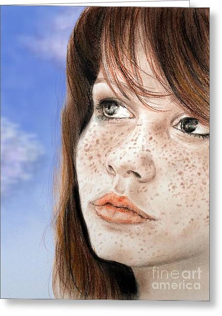 Sf Bay Bombers Mixed Media Greeting Cards - Red Hair and Freckled Beauty Version II Greeting Card by Jim Fitzpatrick