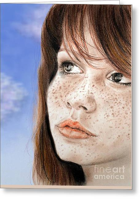 Award Greeting Cards - Red Hair and Freckled Beauty Version II Greeting Card by Jim Fitzpatrick