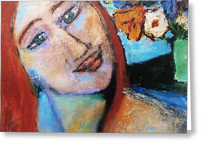 Divine Pastels Greeting Cards - Red Hair  Lady  Greeting Card by Studio Tolere