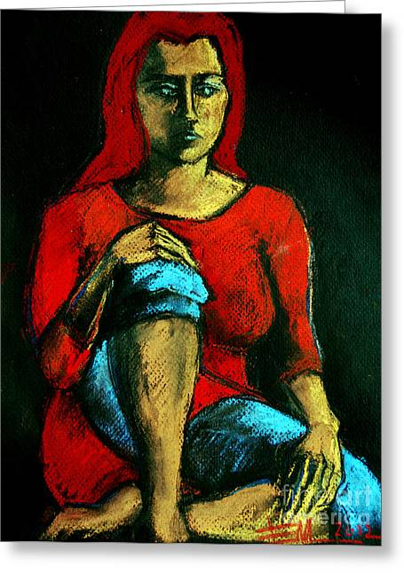 Sadness Pastels Greeting Cards - Red Hair Woman Greeting Card by Mona Edulesco