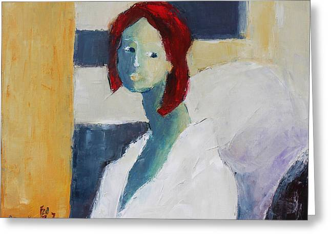 Pallet Knife Greeting Cards - Red Haired Girl Greeting Card by Becky Kim