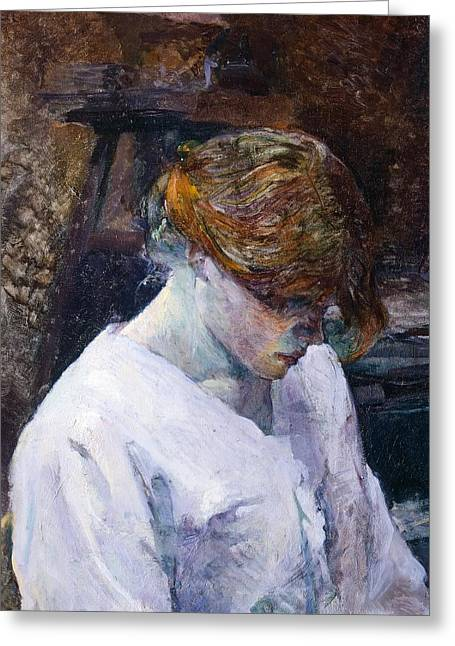 Ignore Greeting Cards - Red-haired woman in white camisole Greeting Card by Henri de Toulouse Lautrec