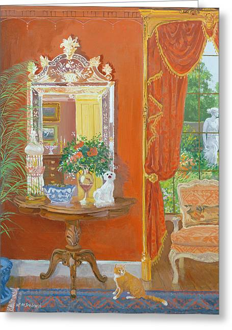 Mirror Greeting Cards - Red Hallway Victorian Style Oil No Board Greeting Card by William Ireland