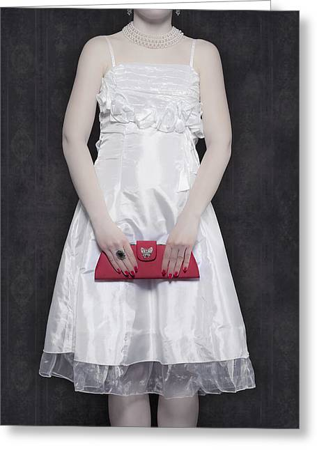 Red Purse Greeting Cards - Red Handbag Greeting Card by Joana Kruse