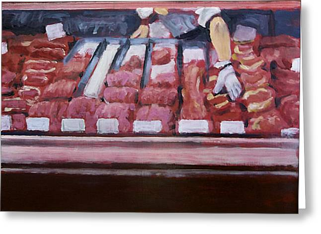 Grocery Store Paintings Greeting Cards - Red Handed at the Meat Counter Greeting Card by David Zimmerman