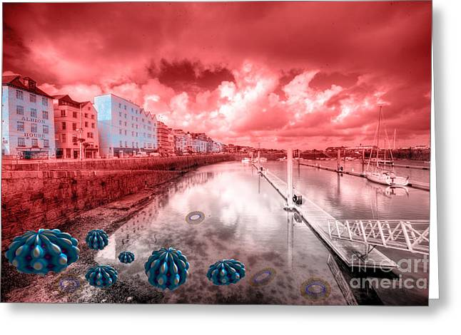 Fractal Orbs Greeting Cards - Red Harbouring  Greeting Card by Rob Hawkins