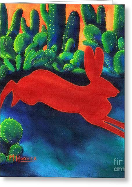 Arkansas Paintings Greeting Cards - Red Hare Silhouette Greeting Card by MarLa Hoover