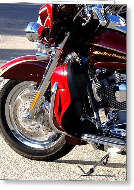 Barbara Snyder Greeting Cards - Red Harley Greeting Card by Barbara Snyder