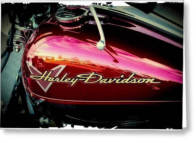 Handle Bar Greeting Cards - Red Harley-Davidson Greeting Card by David Patterson