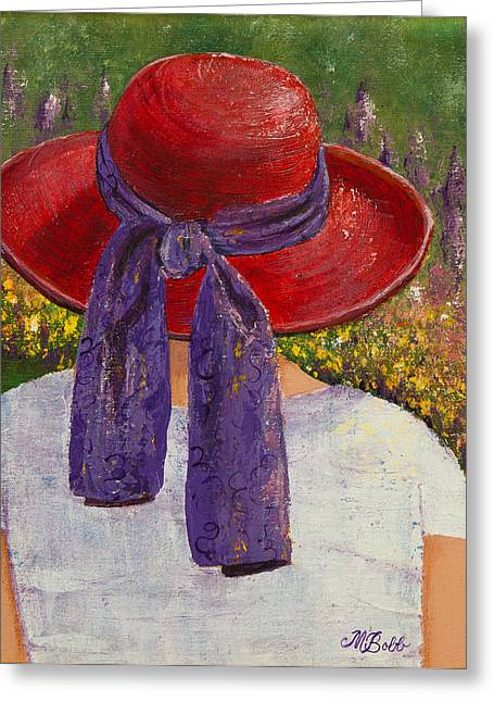 M Bobb Greeting Cards - Red Hat Garden Greeting Card by Margaret Bobb