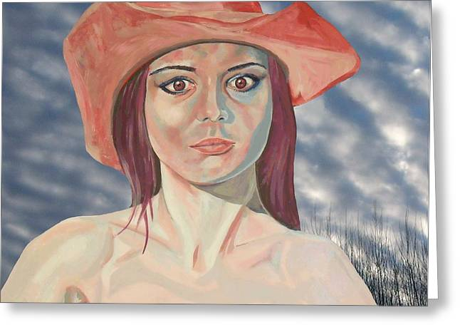 Polish American Mixed Media Greeting Cards - Red hat girl  Greeting Card by Roger Medcalf