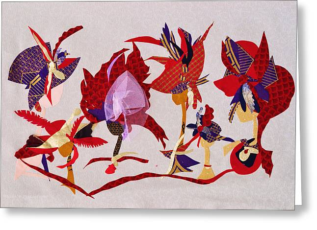 White Tapestries - Textiles Greeting Cards - Red Hat Ladies Greeting Card by Ruth Yvonne Ash