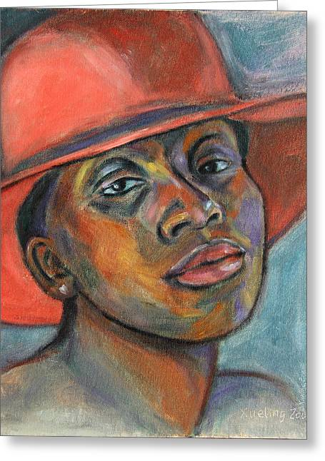 Red Hat Lady Greeting Card by Xueling Zou