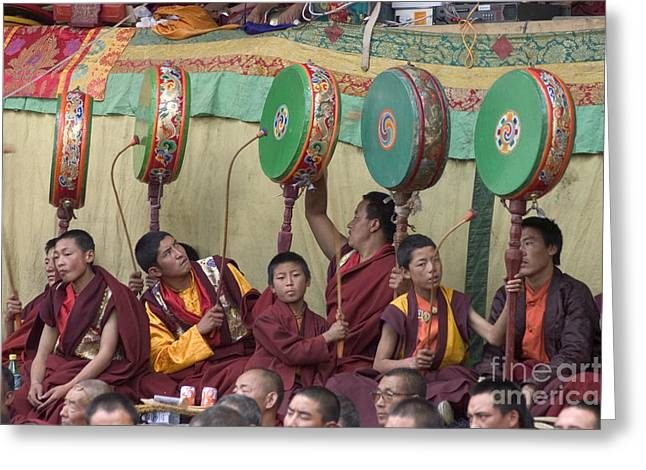 Tibetan Region Greeting Cards - Red Hat Monks - Kham Ceremony Greeting Card by Craig Lovell